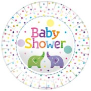 Papperstallrikar 23cm 8p Baby shower elephants