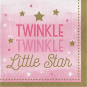 Servetter 16p Twinkle little star rosa