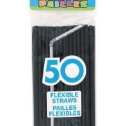 Sugrör av plast Black 50p