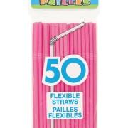 Sugrör av plast Hot pink 50p