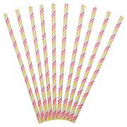 Sugrör av papper Multifärgade ränder 24p