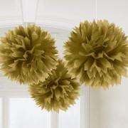 Pompom 40cm 3p Guld