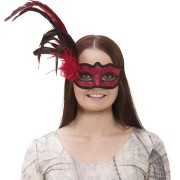 Venetiask ansiktsmask med fjäder röd
