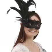 Venetiansk ansiktsmask med fjäder svart