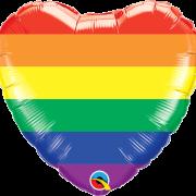 Folieballong 46cm hjärta regnbåge