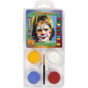 Ansiktsfärg-set 4 färger clown