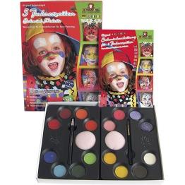 Ansiktsfärg-set 16 färger + steg för steg beskrivning -
