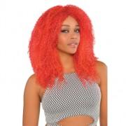 Peruk rött våfflat hår vuxna