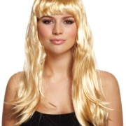 Peruk lång blond m. lugg vuxna