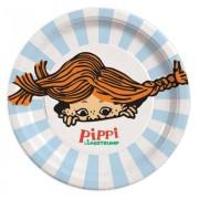 Papperstallrikar 23cm 8p Pippi Långstrump