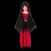 Rödsvart vampyrklänning barn Strl.134-140