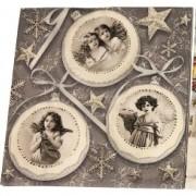 Servetter 33x33cm 20p 3 olika motiv Vintage jul