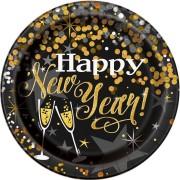 Papperstallrikar 23cm 8p Glittering new year