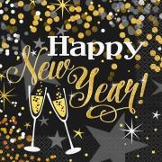 Servetter 33x33cm 16p Glittering new year
