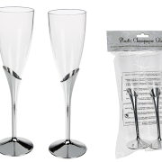 Champagneglas med silverfot 2p