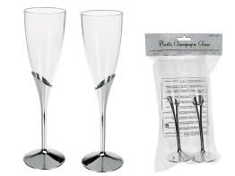 Champagneglas med silverfot 2p -