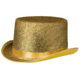 Top hatt glitter guld -