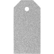 Manillamärken, stl. 5x10 cm, 300 g, silver, glitter, 15st.