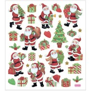 Stickers 15x16,5 cm ca. 29 st klassiska julfigurer, 1ark