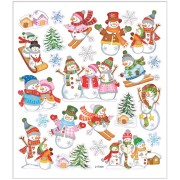 Stickers 15x16,5 cm, ca. 24 st snögubbe på skidor, 1ark