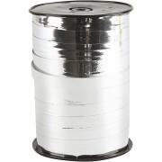 Presentsnöre, B: 10 mm, metallsilver, 250m