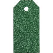 Manillamärken, stl. 5x10 cm, 300 g, grön, glitter, 15st.