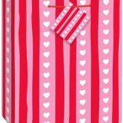 Medium gift bag Stripes and hearts