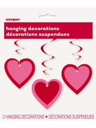 Valentine's Pink Heart Hanging Swirl Decorations 3p -
