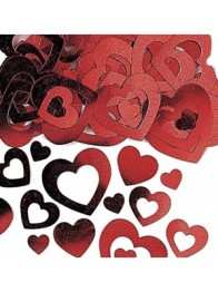 Konfetti 14g Red hollow hearts -
