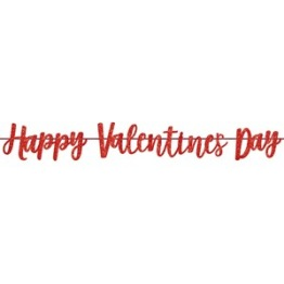 Red Glitter Happy Valentine's Day Script Banner 3.65M -