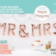Folieballonger rose gold Mr & Mrs
