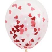Konfettiballonger 40cm 5p Röda hjärtan