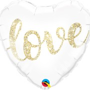 Folieballong 45cm Gold glitter love