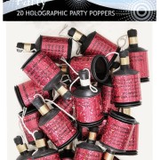 Partypoppers 20p Holografisk rosa