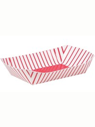 Snack tray 4p Red striped -