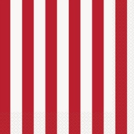 Servetter 33x33cm 16p Red striped -