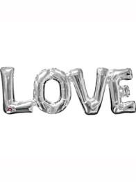 Folieballong Silver Love (63 x 22cm) -