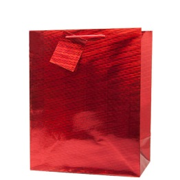 Medium gift bag holographic red -