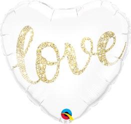 Folieballong 45cm Gold glitter love -