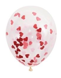 Konfettiballonger 40cm 5p Röda hjärtan -