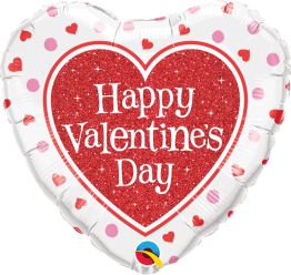 Folieballong 45cm Glitter Valentine's heart -