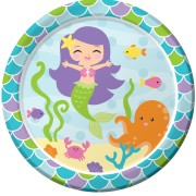 Papperstallrik 22,8cm 8p Mermaid friends