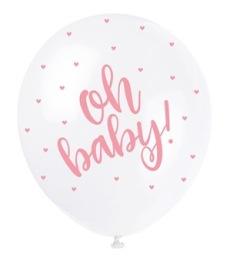 Ballonger 30cm 5p Pearl Oh baby pink -