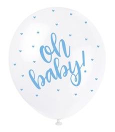 Ballonger 30cm 5p Pearl Oh baby blue -