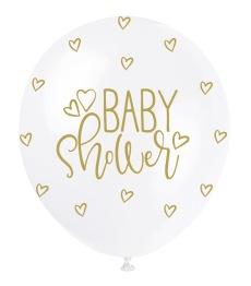 Ballonger 30cm 5p Pearl baby shower gold -