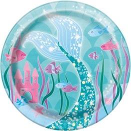 Pappersassietter 18cm 8p Mermaid party -