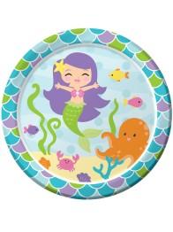 Papperstallrik 22,8cm 8p Mermaid friends -