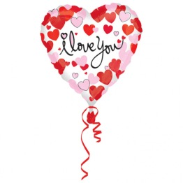 Folieballong 43cm Heartprint I love you -