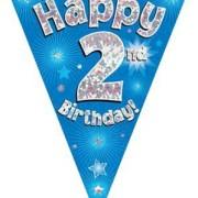 Vimpel 3,9m 2 Happy birthday Holo.blå