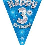 Vimpel 3,9m 3 Happy birthday Holo.blå